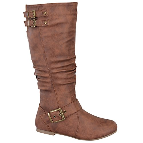 Top Moda Night-76 Damen Sliped unter Kniehohe flache Stiefel Bräunen
