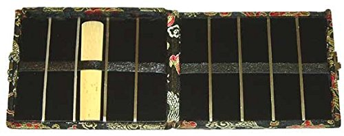 10-Reed Doublesided Tenor Saxophone-Bass Clarinet Reed Case Silk (Black/Gold)