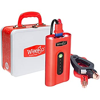 WEEGO 44 Jump Starter 2100 Peak 400 Cranking Amps High Performance Lithium Ion Power Pack Quick Charges Phones 500 Lumen LED Flashlight Water Resistant USA Designed and Engineered