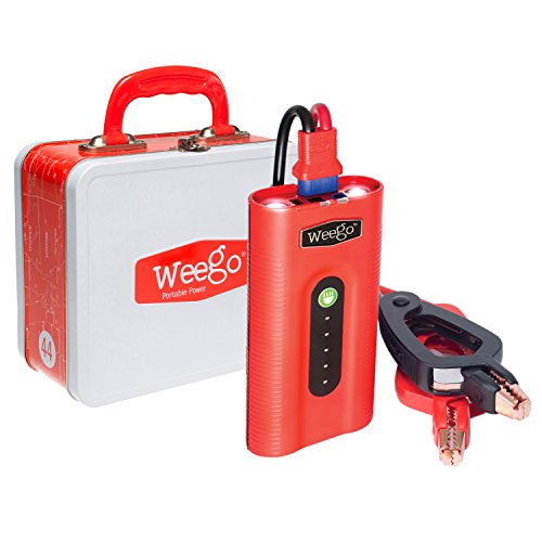 Price comparison product image WEEGO 44 Jump Starter 2100 Peak 400 Cranking Amps High Performance Lithium Ion Power Pack Quick Charges Phones 500 Lumen LED Flashlight Water Resistant USA Designed and Engineered