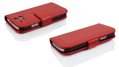 Cadorabo - Funda HTC ONE M8 (2. Generación) Book Style de Cuero Sintético en Diseño Libro - Etui Case Cover Carcasa Caja Protección con Tarjetero en NEGRO-ÓXIDO ROJO-INFIERNO