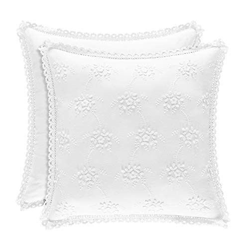 Five Queens Court Rosalind Blue Embroidered Floral 17 Inch Square Throw Pillow, White