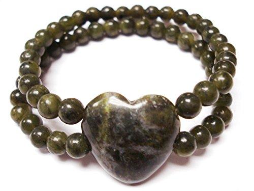 Irish Connemara Marble: Stretch Heart Bracelet