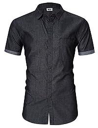 MrWonder Men's Casual Slim Fit Long Sleeve Button Down Dress Shirts Denim Shirt