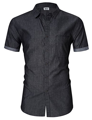 MrWonder Men's Casual Slim Fit Button Down Shirt Short Sleeve Denim Shirts Grey L