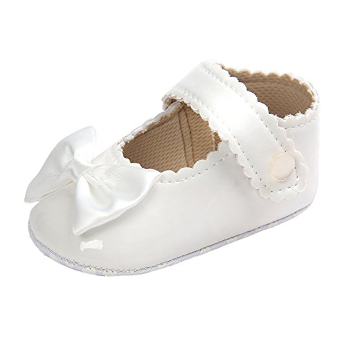 Baby Girls Burnish Patent Pu Leather Bowknot Pincess Mary Jane Prewalker Crib Shoes White 12-18 Months