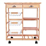 Allblessings Natural Wood Dining Kitchen Island Trolley Cart Utility Storage Drawer Shelf Fur.