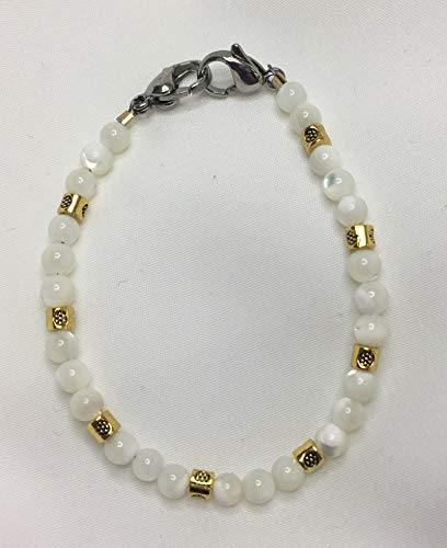 White Mother of Pearl and Gold Medical ID Alert Replacement Bracelet! - Pearl Id Bracelet Of Mother