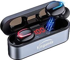【最新型】ワイヤレスイヤホン Bluetooth IPX8 防水 Bluetooth ワイヤレス 5.0 超軽量 两耳左右分離型 高音質 自動接続 ハンズフリー通話 LED電量表示 120時間待ち受...