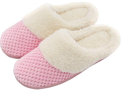 UltraIdeas Women's Soft Gridding Coral Velvet Short Plush Lining Slip-on Memory Foam Clog Indoor Slippers (Small / 5-6 B(M) US, Pink) (Coral Soft Pink)
