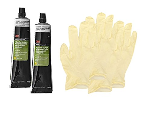 3M Yellow Super Weatherstrip and Gasket Adhesive Tube (5 oz) Bundle with Latex Gloves (6 (Yellow Weatherstrip Adhesive)