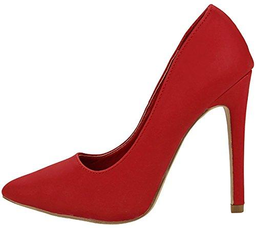 JJF Shoes Women Classic Slip On Elegant Pointed Toe Stiletto Heel Padded Sole Formal Dress Pumps Red Nubuck KRr4DR
