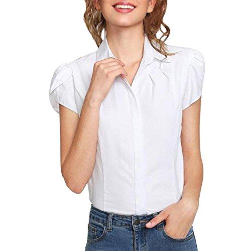 Chemisier Pure Femmes Col Courte Élégant À Manches Adeshop Blanc Manche Courtes Été Décontracté shirt Blouse Bouton T Mode Couleur Rabattu zwFwYa