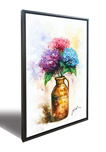 (Hongwu Canvas Wall Art Vase Flower Painting Modern Canvas Prints Hydrangea Pictures Framed Art Ready to Hang for Home Wall Decor 20x28inch)