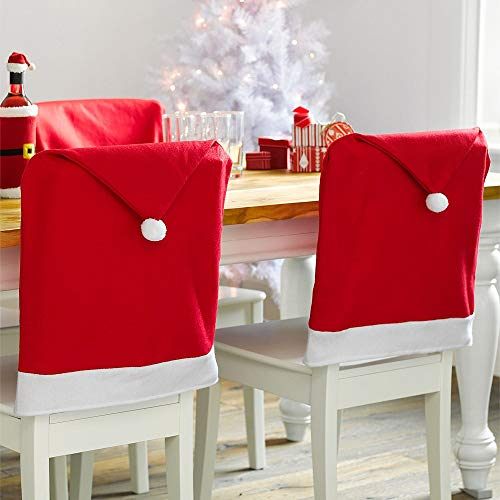 Natico Home Décor Festive Dining Table Santa Hat Chair Cover, Red (100-12870)