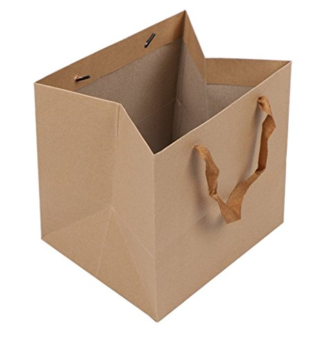 LeeDragon Brown Kraft Paper Gift Shopping Handle Bags for Package 13x13x13inch