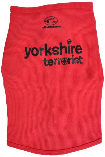 Ruff Ruff and Meow Doggie Tank Top, Yorkshire Terrorist, Red, Large