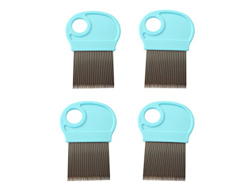 4 Pack Lice Combs, Nit Remover with Metal Teeth and Magnifier Tool for Hair and Head (Turquoise Blue)