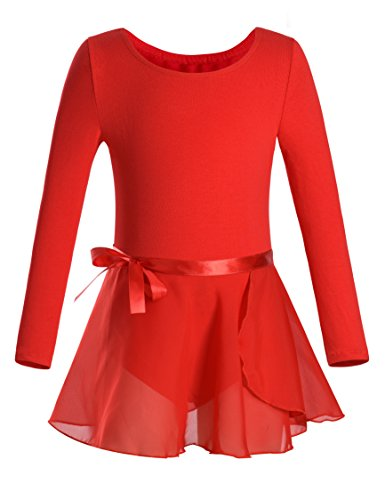 DANSHOW Girls Team Basic Long Sleeve Leotard with Skirt Kid Dance Ballet Tutu Dress (2-4, Red) (Dances Recital Christmas)