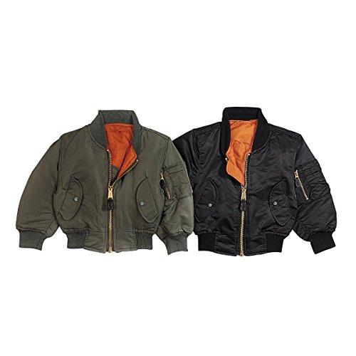 Rothco Kids Ma-1 Flight Jacket-Black, Large