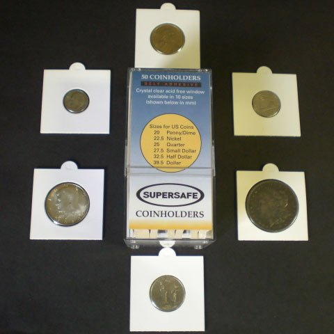 50 2x2 Self-Adhesive Cardboard Coin Holders MIX SIZES