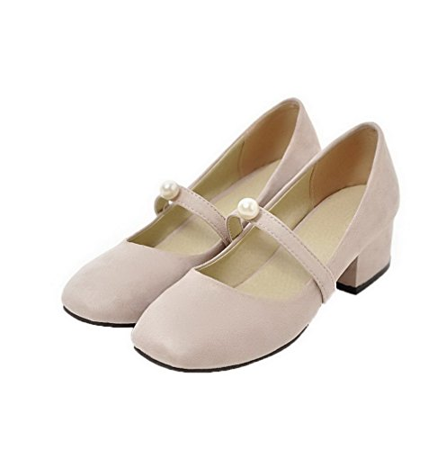 Odomolor Women's Solid Frosted Low-Heels Pull-On Closed-Toe Pumps-Shoes, Beige, 36