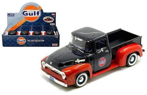DIECAST 1:24 Display - Gulf - 1956 Ford F-100 Pickup (Dark Blue/RED) 74647D by MOTOR MAX