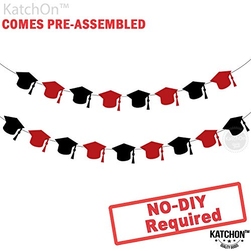 Graduation Hat Decorations Garland - Assembled - Graduation Party Supplies Red and Black - Graduation Garland for Graduation Party Supplies 2019 - Cute and Unique for Table, Mantle - No DIY Required