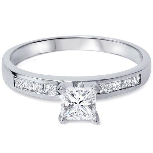 White Gold 1ct Princess Cut Diamond Engagement Ring