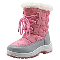 Apakowa Kids Girls Insulated Fur Winter Warm Snow Boots (Toddler/Little) (Color : Pink/Grey, Size : 13 M US Little Kid)