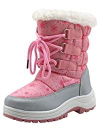 Apakowa Kids Girls Insulated Fur Winter Warm Snow Boots (Toddler/Little)