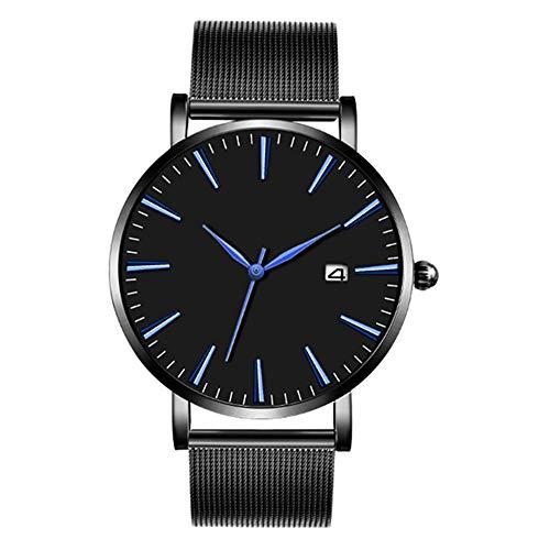(Clement Attlee Fashion Men's Watch Retro Design Stainless Steel Webbing Belt Band Analog Alloy Quartz Pointer Wrist Watch (Black))