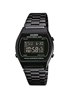 Casio B640WB-1BEF Classic Digital Watch with Stainless Steel Band - Black with Black Dial