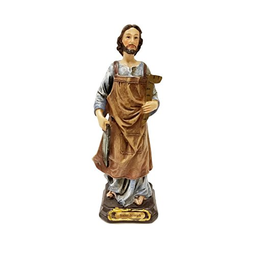 Biagio Saint Joseph The Carpenter Home Selling Kit Statue, 6-Inch Colored Figurine with Instructions and Prayer -