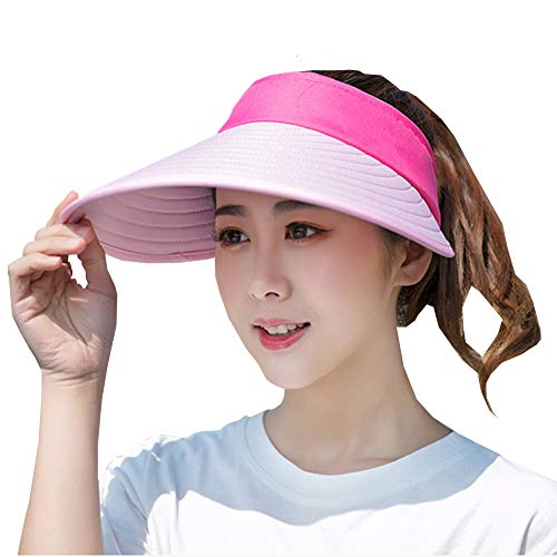 Sun Visor Hats Women Large Brim Summer UV Protection Beach Cap Rose