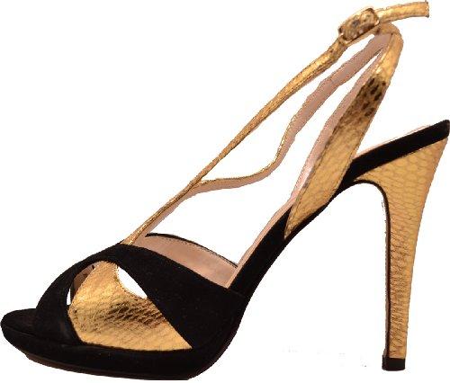 Caparros Womens Elvira Evening Sandals- Black Gold 9med hjKNh8r