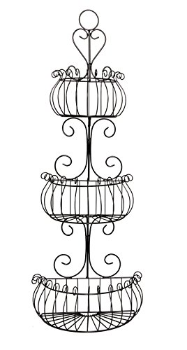 JMiles UH-WB231 Three Tier Decorative Black Wire Basket - Freestanding or Hanging Wire Basket for Fruits and Veggies, Restroom Organization, and More (Black)