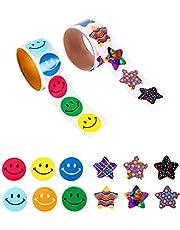 JOOEE 2 rullar motiverande belöning klistermärken för barn smiley ansikte och stjärna klistermärken lärare klistermärken (totalt 200 klistermärken)