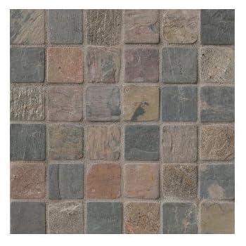 2x2 Mixed Tumbled Slate Mosaic Tiles For Backsplash Shower Walls