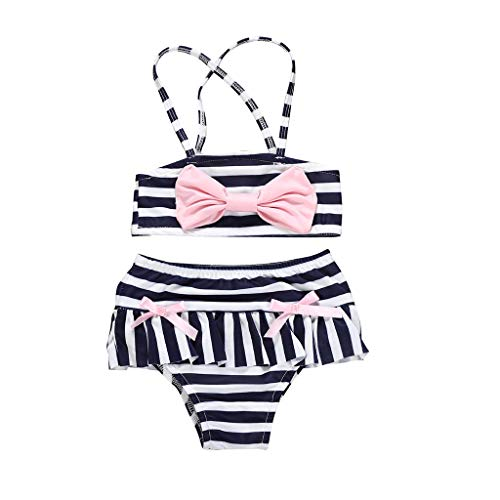 Luonita Kids Infant Toddler Baby Girls Stripe Swimwear Swimsuit Bikini Outfits Set with Bowknot -