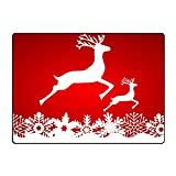 JONHBKD Floor Mats Two Reindeer Jump to Each Other On A Red Door...