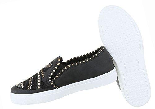 Damen Schuhe Halbschuhe Used Optik Slipper Schwarz Schwarz