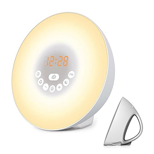 MOXIN Wake Up Light Sunrise Simulator Alarm Clock 6-Nature Sounds Fm Radio Touch Control 7-Color Night Smart Snooze Function by moxin