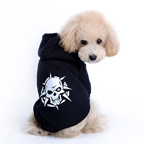 Gotd Pet Festival Costume for Small Dogs Pet Puppy Black Skull Coat Dog Clothes Costume Jacket T-shirt Hoodie (M, Black) ()