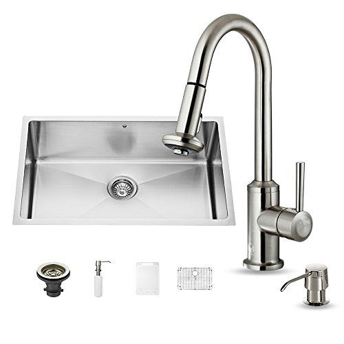 (VIGO 30 inch Undermount Single Bowl 16 Gauge Stainless Steel Kitchen Sink with Astor Stainless Steel Faucet, Grid, Strainer and Soap Dispenser)
