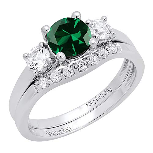 Dazzlingrock Collection 10K 6 MM Lab Created Emerald, White Sapphire & Diamond Ladies Ring Set, White Gold, Size 5.5