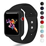 KEASDN for Apple Watch Band with Case 38mm 42mm, Silicone Sport iWatch Strap Band with Shock-Proof Case for Apple Watch Series 3/2/1 Sport Nike+ and Edition
