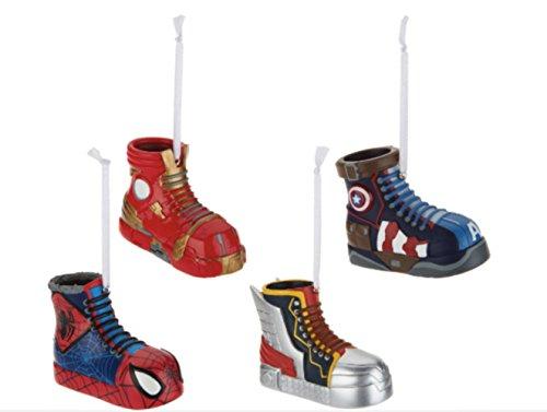 Captain Sneaker (Hallmark Set of 4 Superhero Sneaker Christmas Tree Ornaments : Captain America , Spider-man, Iron man, Thor)