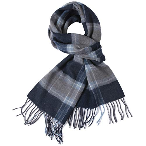 Winter Scarf Long, WAMSOFT 100% Wool Mens Womens Super Soft Winter Cashmere Feel Scarf Plaid Pattern Super Soft Premium Luxurious Scarfs, Royal Blue - Winter Wool Scarf