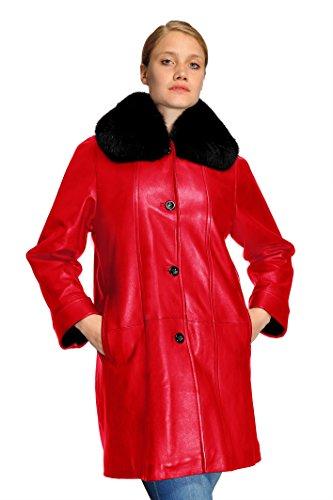 Collar Swing Coat - Mason & Cooper Lara Lamb/Fox Collar Swing Coat-Red-5XL